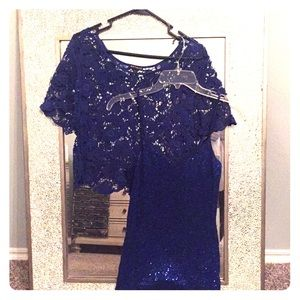 EXPRESS Royal lace top w/blue sequined cami